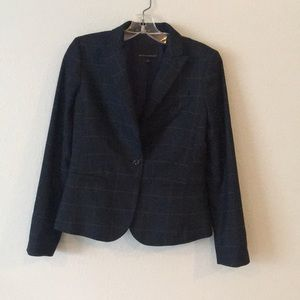 Navy Window Pane Pattern Blazer